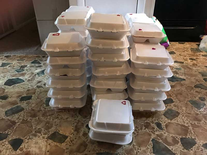 Food prepared to help tornado victims in Albany, GA