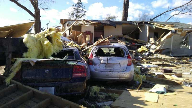 Damage from Tornadoes in Albany, Georgia
