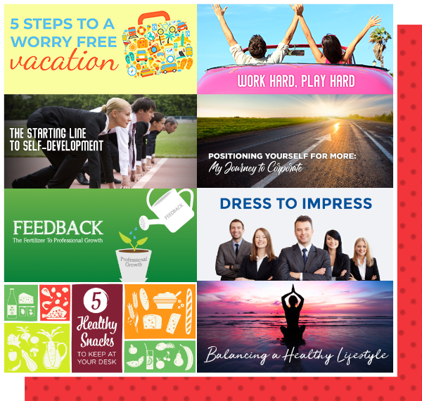 Collage of blog header graphics